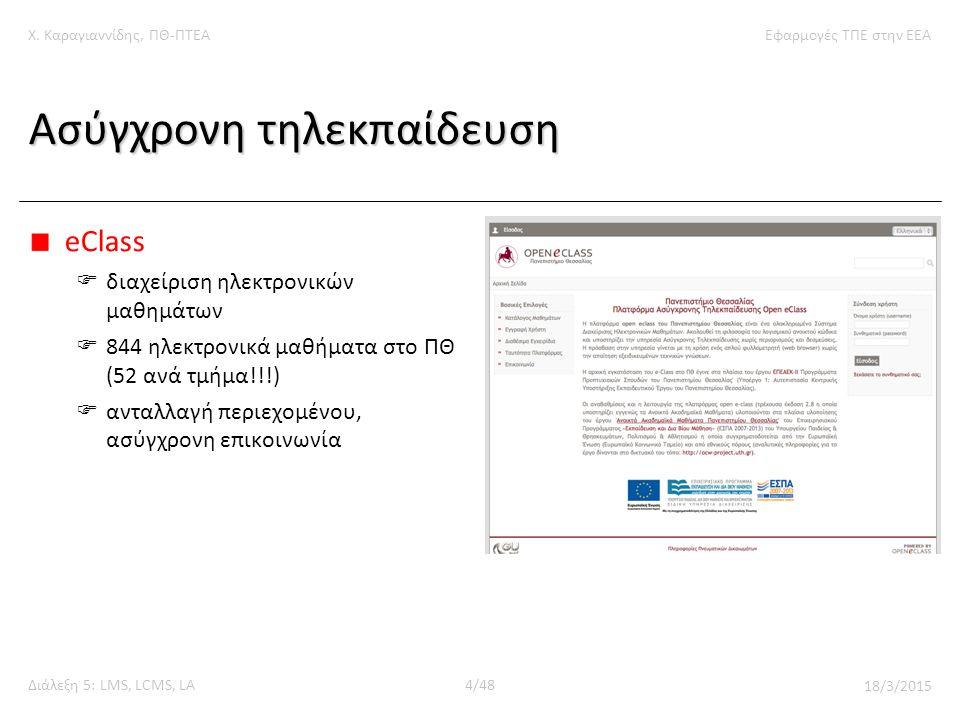 Χ. Καραγιαννίδης, ΠΘ-ΠΤΕΑΕφαρμογές ΤΠΕ στην ΕΕΑ Διάλεξη 5: LMS, LCMS, LA4/48 18/3/2015 Ασύγχρονη τηλεκπαίδευση eClass  διαχείριση ηλεκτρονικών μαθημά