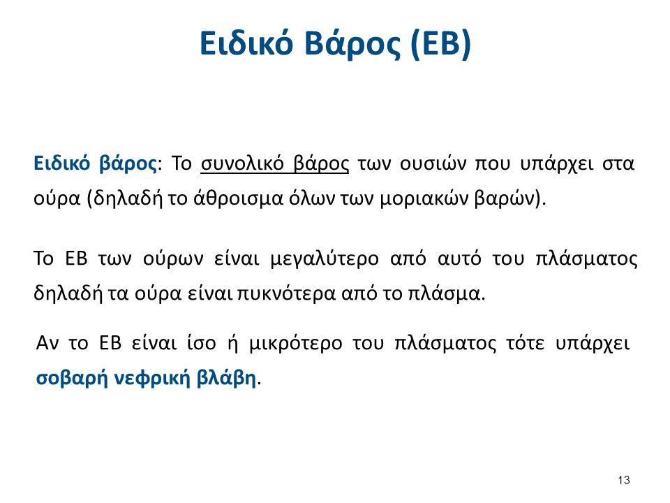 Ειδικό Βάρος (ΕΒ) Ειδικό βάρος: Το συνολικό βάρος των ουσιών που υπάρχει στα ούρα (δηλαδή το άθροισμα όλων των μοριακών βαρών). Το ΕΒ των ούρων είναι