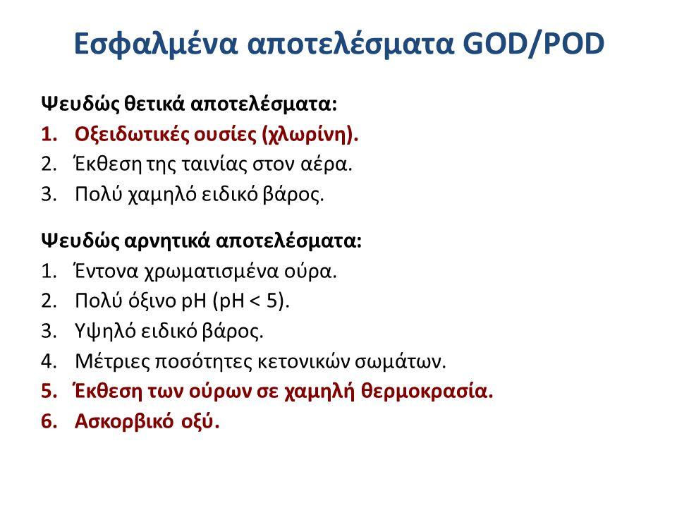 Εσφαλμένα αποτελέσματα GOD/POD Ψευδώς θετικά αποτελέσματα: 1.Οξειδωτικές ουσίες (χλωρίνη). 2.Έκθεση της ταινίας στον αέρα. 3.Πολύ χαμηλό ειδικό βάρος.