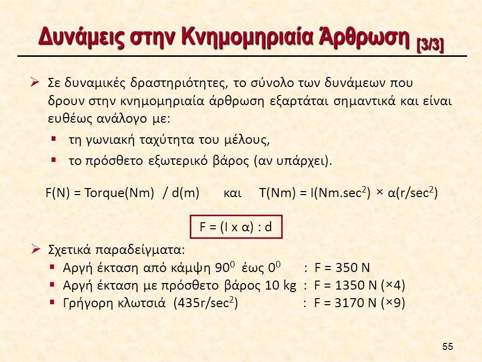 Δυνάμεις στην Κνημομηριαία Άρθρωση [3/3]  Σε δυναμικές δραστηριότητες, το σύνολο των δυνάμεων που δρουν στην κνημομηριαία άρθρωση εξαρτάται σημαντικά και είναι ευθέως ανάλογο με:  τη γωνιακή ταχύτητα του μέλους,  το πρόσθετο εξωτερικό βάρος (αν υπάρχει).
