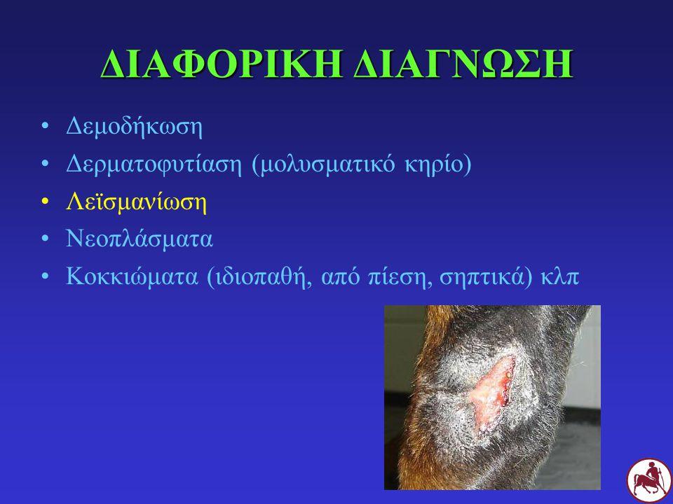 ΔΙΑΦΟΡΙΚΗ ΔΙΑΓΝΩΣΗ Δεμοδήκωση Δερματοφυτίαση (μολυσματικό κηρίο) Λεϊσμανίωση Νεοπλάσματα Κοκκιώματα (ιδιοπαθή, από πίεση, σηπτικά) κλπ
