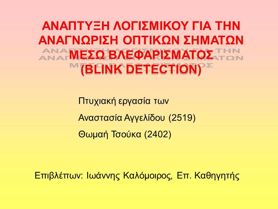 Ανάλυση εφαρμογής Λήψη πλαισίου από κάμερα Εντοπισμός προσώπου Εντοπισμός ματιών Λήψη επόμενου πλαισίου και επανάληψη διαδικασίας Σύγκριση περιοχής ματιών Εμφάνιση μηνύματος σε περίπτωση βλεφαρίσματος