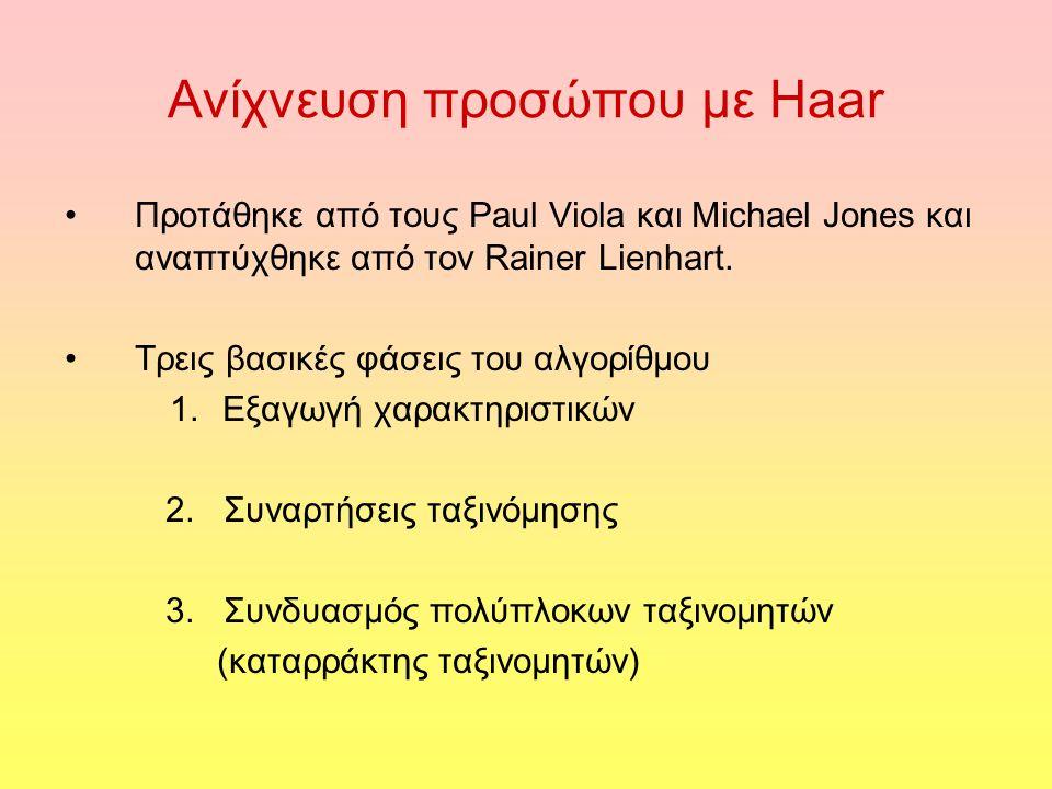 Ανίχνευση προσώπου με Haar Προτάθηκε από τους Paul Viola και Michael Jones και αναπτύχθηκε από τον Rainer Lienhart. Τρεις βασικές φάσεις του αλγορίθμο