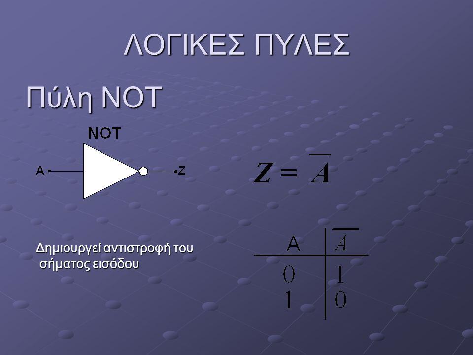 ΛΟΓΙΚΕΣ ΠΥΛΕΣ Πύλη NAND (ΝΟΤ AND) Η έξοδος είναι ψευδής (0) μόνο όταν Α και Β είναι αληθείς (1) Η έξοδος είναι ψευδής (0) μόνο όταν Α και Β είναι αληθείς (1)
