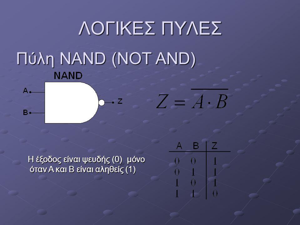 Πύλη NOR (NOT OR) ΛΟΓΙΚΕΣ ΠΥΛΕΣ H έξοδος είναι αληθής (1), όταν και οι δύο είσοδοι είναι ψευδείς (0) H έξοδος είναι αληθής (1), όταν και οι δύο είσοδοι είναι ψευδείς (0)