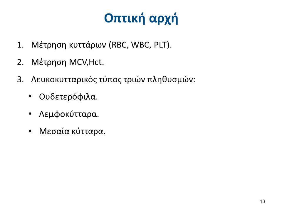 Οπτική αρχή 1.Μέτρηση κυττάρων (RBC, WBC, PLT). 2.Mέτρηση MCV,Hct. 3.Λευκοκυτταρικός τύπος τριών πληθυσμών: Ουδετερόφιλα. Λεμφοκύτταρα. Μεσαία κύτταρα
