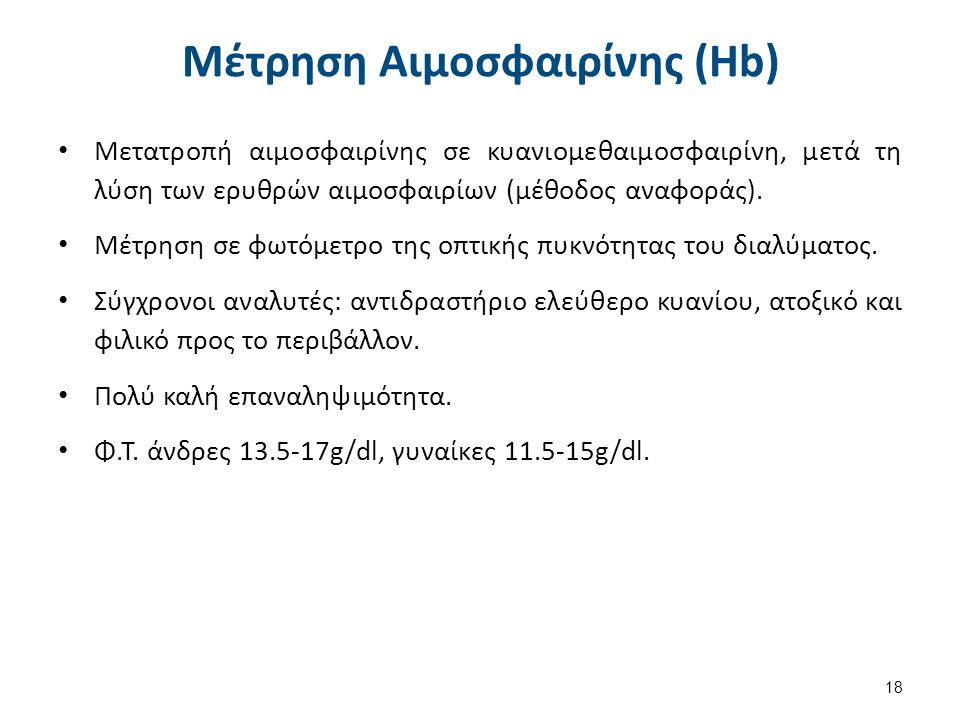 Μέτρηση Αιμοσφαιρίνης (Hb) Μετατροπή αιμοσφαιρίνης σε κυανιομεθαιμοσφαιρίνη, μετά τη λύση των ερυθρών αιμοσφαιρίων (μέθοδος αναφοράς). Μέτρηση σε φωτό