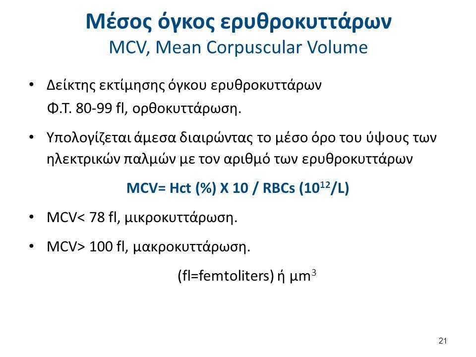 Μέσος όγκος ερυθροκυττάρων MCV, Mean Corpuscular Volume Δείκτης εκτίμησης όγκου ερυθροκυττάρων Φ.Τ. 80-99 fl, ορθοκυττάρωση. Υπολογίζεται άμεσα διαιρώ