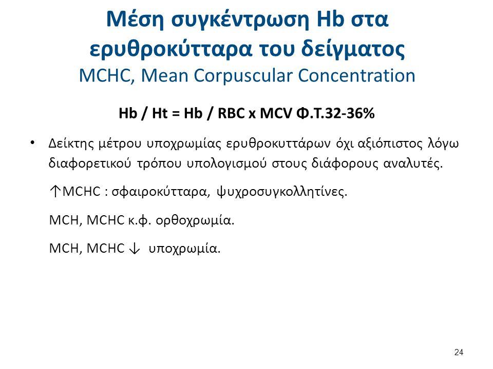 Μέση συγκέντρωση Hb στα ερυθροκύτταρα του δείγματος MCHC, Mean Corpuscular Concentration Hb / Ht = Hb / RBC x MCV Φ.Τ.32-36% Δείκτης μέτρου υποχρωμίας