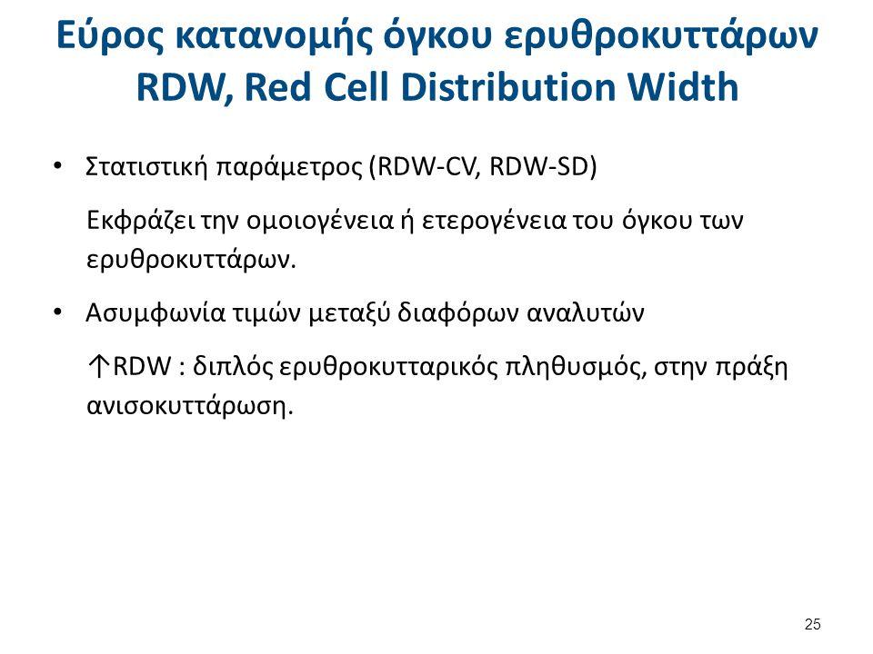 Εύρος κατανομής όγκου ερυθροκυττάρων RDW, Red Cell Distribution Width Στατιστική παράμετρος (RDW-CV, RDW-SD) Εκφράζει την ομοιογένεια ή ετερογένεια το