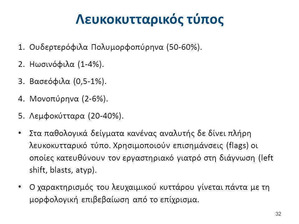 Λευκοκυτταρικός τύπος 1.Ουδερτερόφιλα Πολυμορφοπύρηνα (50-60%). 2.Ηωσινόφιλα (1-4%). 3.Βασεόφιλα (0,5-1%). 4.Μονοπύρηνα (2-6%). 5.Λεμφοκύτταρα (20-40%