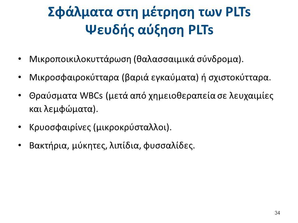 Σφάλματα στη μέτρηση των PLTs Ψευδής αύξηση PLTs Μικροποικιλοκυττάρωση (θαλασσαιμικά σύνδρομα). Μικροσφαιροκύτταρα (βαριά εγκαύματα) ή σχιστοκύτταρα.
