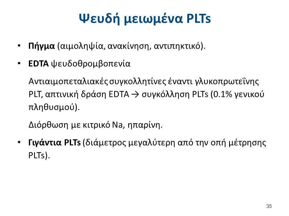 Ψευδή μειωμένα PLTs Πήγμα (αιμοληψία, ανακίνηση, αντιπηκτικό). EDTA ψευδοθρομβοπενία Αντιαιμοπεταλιακές συγκολλητίνες έναντι γλυκοπρωτεΐνης PLT, απτιν