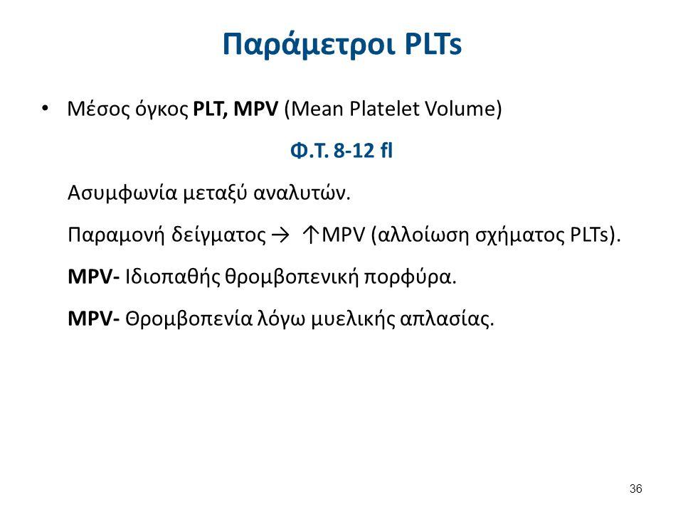 Παράμετροι PLTs Μέσος όγκος PLT, MPV (Mean Platelet Volume) Φ.Τ. 8-12 fl Ασυμφωνία μεταξύ αναλυτών. Παραμονή δείγματος → ↑MPV (αλλοίωση σχήματος PLTs)
