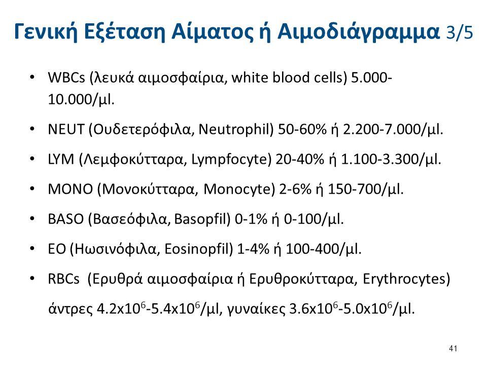 Γενική Εξέταση Αίματος ή Αιμοδιάγραμμα 3/5 WBCs (λευκά αιμοσφαίρια, white blood cells) 5.000- 10.000/μl. NEUΤ (Ουδετερόφιλα, Neutrophil) 50-60% ή 2.20