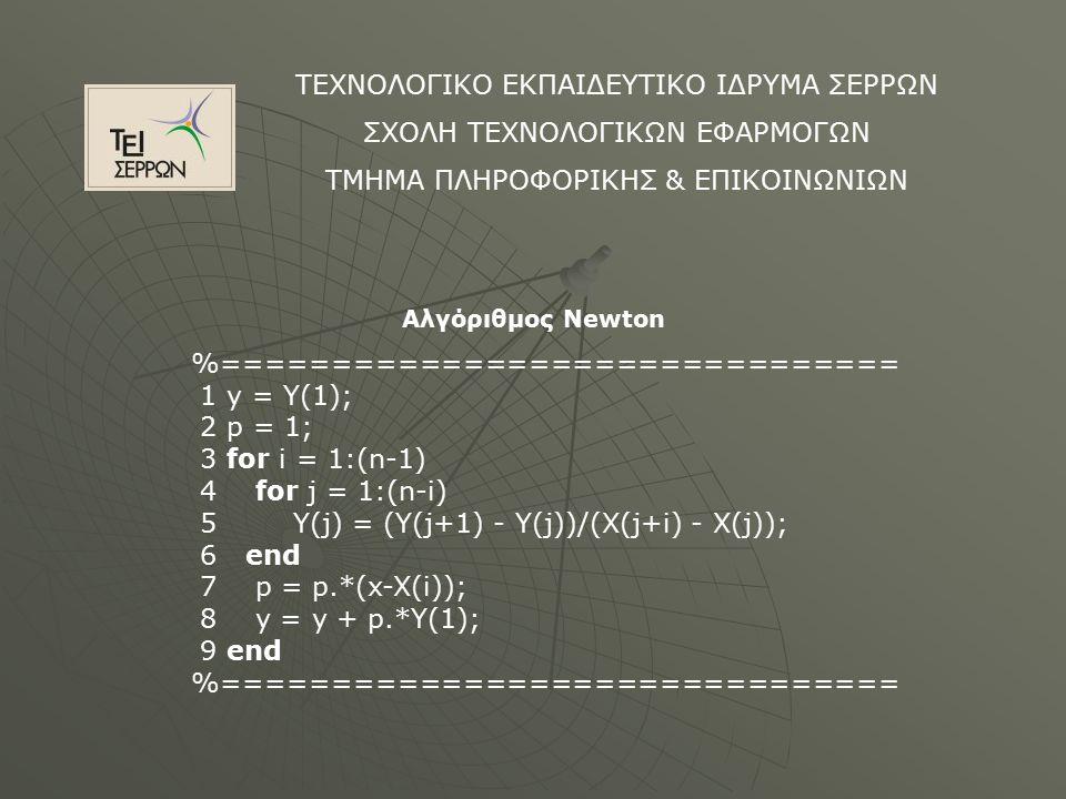 ΤΕΧΝΟΛΟΓΙΚΟ ΕΚΠΑΙΔΕΥΤΙΚΟ ΙΔΡΥΜΑ ΣΕΡΡΩΝ ΣΧΟΛΗ ΤΕΧΝΟΛΟΓΙΚΩΝ ΕΦΑΡΜΟΓΩΝ ΤΜΗΜΑ ΠΛΗΡΟΦΟΡΙΚΗΣ & ΕΠΙΚΟΙΝΩΝΙΩΝ Αλγόριθμος Newton %=============================== 1 y = Y(1); 2 p = 1; 3 for i = 1:(n-1) 4 for j = 1:(n-i) 5 Y(j) = (Y(j+1) - Y(j))/(X(j+i) - X(j)); 6 end 7 p = p.*(x-X(i)); 8 y = y + p.*Y(1); 9 end %===============================
