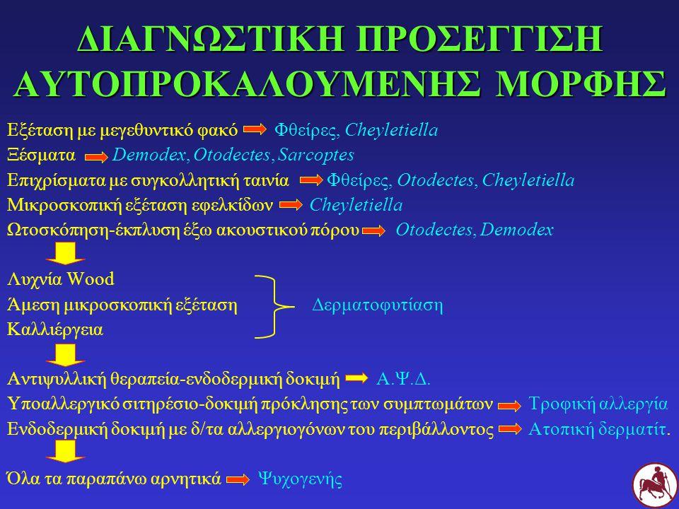 ΔΙΑΓΝΩΣΤΙΚΗ ΠΡΟΣΕΓΓΙΣΗ ΑΥΤΟΠΡΟΚΑΛΟΥΜΕΝΗΣ ΜΟΡΦΗΣ Εξέταση με μεγεθυντικό φακό Φθείρες, Cheyletiella Ξέσματα Demodex, Otodectes, Sarcoptes Επιχρίσματα με