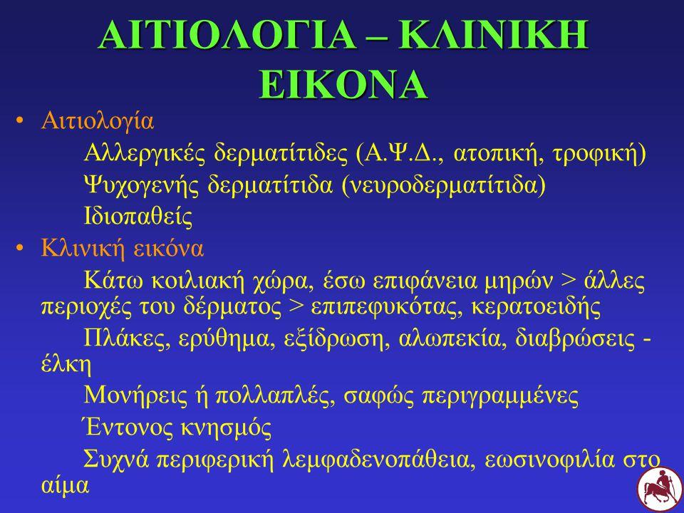 ΑΙΤΙΟΛΟΓΙΑ – ΚΛΙΝΙΚΗ ΕΙΚΟΝΑ Αιτιολογία Αλλεργικές δερματίτιδες (Α.Ψ.Δ., ατοπική, τροφική) Ψυχογενής δερματίτιδα (νευροδερματίτιδα) Ιδιοπαθείς Κλινική