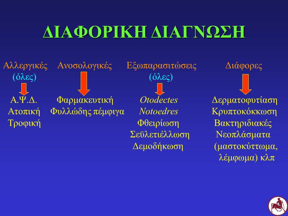 ΘΕΡΑΠΕΙΑ Αντιμετώπιση υποκείμενης δερματοπάθειας Γλυκοκορτικοειδή (P.O., inj) ή κυκλοσπορίνη Α Πιθανά αντιμικροβιακά x 2-3 εβδομάδες Χλωραμβουκίλη, χρυσοθειογλυκόζη