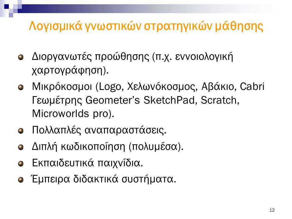 12 Λογισμικά γνωστικών στρατηγικών μάθησης Διοργανωτές προώθησης (π.χ. εννοιολογική χαρτογράφηση). Μικρόκοσμοι (Logo, Χελωνόκοσμος, Αβάκιο, Cabri Γεωμ