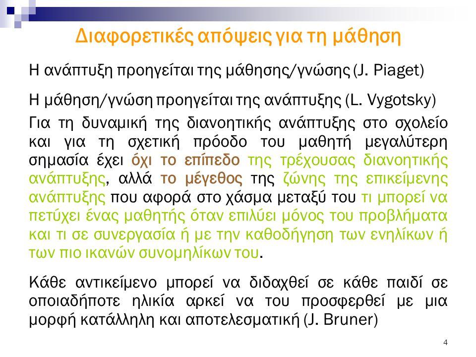 4 Διαφορετικές απόψεις για τη μάθηση H ανάπτυξη προηγείται της μάθησης/γνώσης (J. Piaget) Η μάθηση/γνώση προηγείται της ανάπτυξης (L. Vygotsky) Για τη