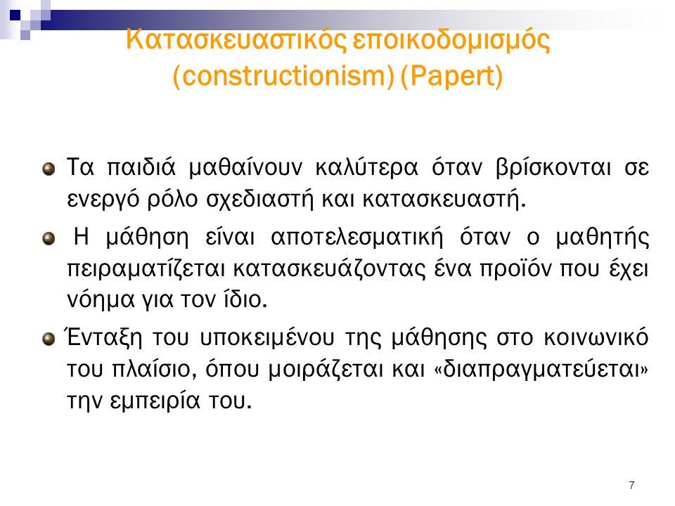 7 Kατασκευαστικός εποικοδομισμός (constructionism) (Papert) Τα παιδιά μαθαίνουν καλύτερα όταν βρίσκονται σε ενεργό ρόλο σχεδιαστή και κατασκευαστή.