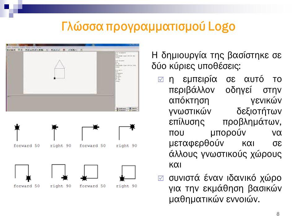 8 Γλώσσα προγραμματισμού Logo Η δημιουργία της βασίστηκε σε δύο κύριες υποθέσεις:  η εμπειρία σε αυτό το περιβάλλον οδηγεί στην απόκτηση γενικών γνωστικών δεξιοτήτων επίλυσης προβλημάτων, που μπορούν να μεταφερθούν και σε άλλους γνωστικούς χώρους και  συνιστά έναν ιδανικό χώρο για την εκμάθηση βασικών μαθηματικών εννοιών.