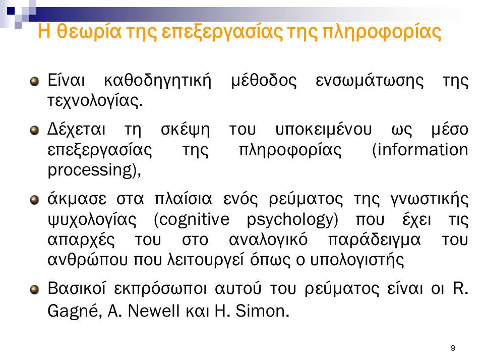 9 Είναι καθοδηγητική μέθοδος ενσωμάτωσης της τεχνολογίας. Δέχεται τη σκέψη του υποκειμένου ως μέσο επεξεργασίας της πληροφορίας (information processin