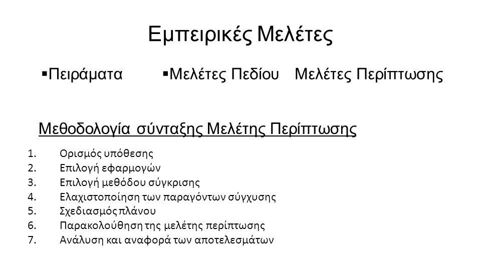 Εμπειρικές Μελέτες 1.Ορισμός υπόθεσης 2.Επιλογή εφαρμογών 3.Επιλογή μεθόδου σύγκρισης 4.Ελαχιστοποίηση των παραγόντων σύγχυσης 5.Σχεδιασμός πλάνου 6.Παρακολούθηση της μελέτης περίπτωσης 7.Ανάλυση και αναφορά των αποτελεσμάτων  Πειράματα  Μελέτες ΠεδίουΜελέτες Περίπτωσης Μεθοδολογία σύνταξης Μελέτης Περίπτωσης