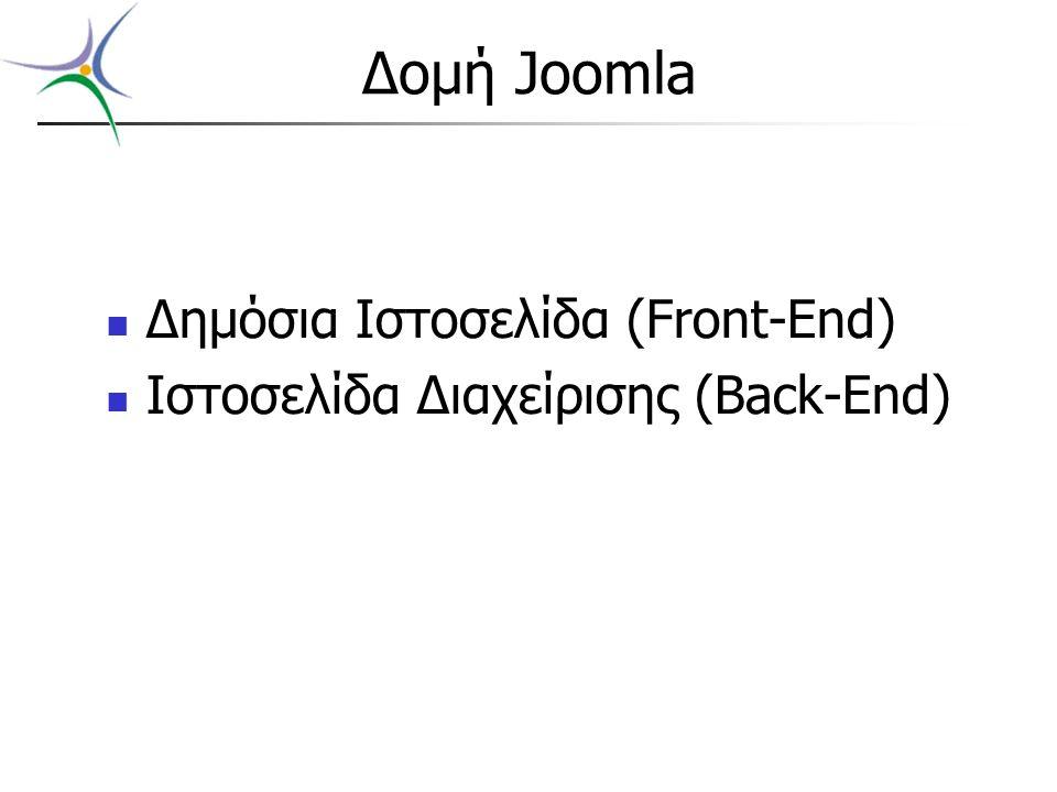Δομή Joomla Δημόσια Ιστοσελίδα (Front-End) Ιστοσελίδα Διαχείρισης (Back-End)
