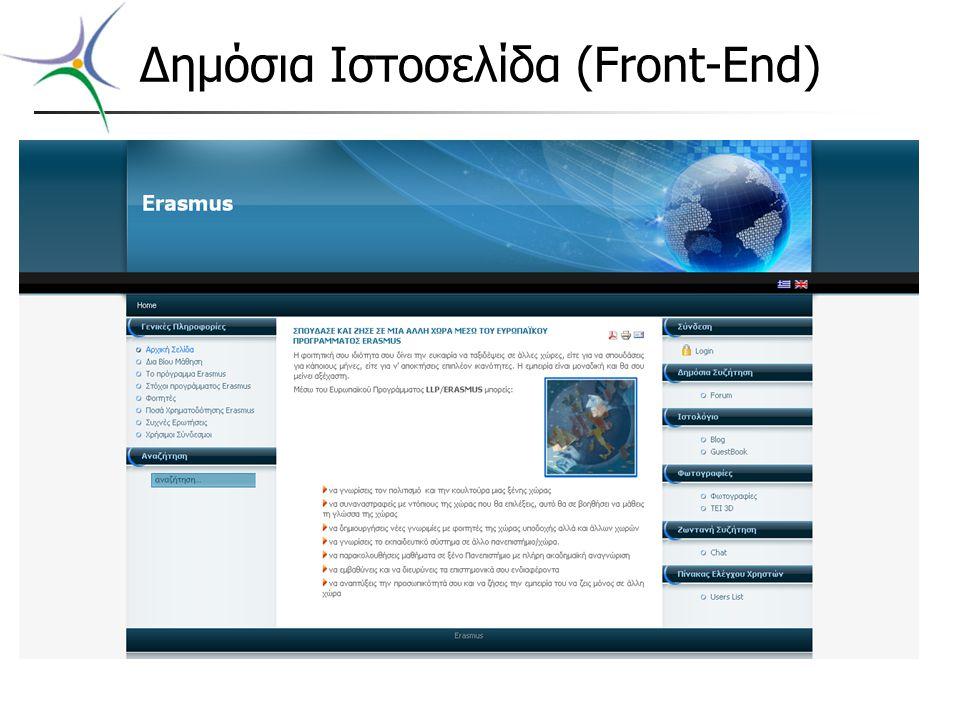 Δημόσια Ιστοσελίδα (Front-End)