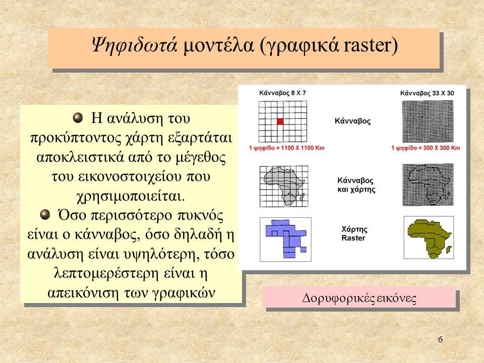 7 00011 00111 00111 01111 Τρόποι εισαγωγής και δημιουργίας βάσεων δεδομένων μορφής raster: Ψηφιδωτά μοντέλα (γραφικά raster) Η είσοδος ανά εικονοστοιχείο (cell by cell entry) είναι η απλούστερη μέθοδος και η εισαγωγή γίνεται απευθείας για κάθε επίπεδο και εικονοστοιχείο χωριστά (αρχείο ASCII) Η ψηφιοποίηση ανά κουκίδα/σημείο (raster digitizing), όπου επιλέγονται σημεία ή γραμμές μέ ίδια χαρακτηριστικά και ιχνηλατούνται με το ποντίκι (mouse) Η διανυσματική ψηφιοποίηση (vector digitizing), όπου η πληροφορία αρχικά καταχωρείται ώς ένα σύνολο σημείων, γραμμών και πολυγώνων που είναι και η θεμελιώδης μορφή των χωρικών αντικειμένων σε διανυσματική μορφή και στη συνέχεια μετατρέπεται σε μορφή raster η κατά μήκος κωδικοποίηση (run length encoding) Η είσοδος ανά εικονοστοιχείο (cell by cell entry) είναι η απλούστερη μέθοδος και η εισαγωγή γίνεται απευθείας για κάθε επίπεδο και εικονοστοιχείο χωριστά (αρχείο ASCII) Η ψηφιοποίηση ανά κουκίδα/σημείο (raster digitizing), όπου επιλέγονται σημεία ή γραμμές μέ ίδια χαρακτηριστικά και ιχνηλατούνται με το ποντίκι (mouse) Η διανυσματική ψηφιοποίηση (vector digitizing), όπου η πληροφορία αρχικά καταχωρείται ώς ένα σύνολο σημείων, γραμμών και πολυγώνων που είναι και η θεμελιώδης μορφή των χωρικών αντικειμένων σε διανυσματική μορφή και στη συνέχεια μετατρέπεται σε μορφή raster η κατά μήκος κωδικοποίηση (run length encoding) 3 0 2 1 2 0 3 1 2 0 3 1 1 0 4 1