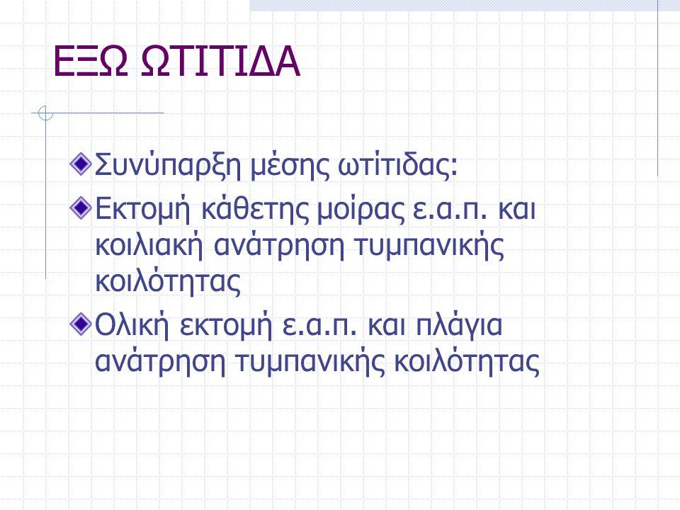 ΕΞΩ ΩΤΙΤΙΔΑ Συνύπαρξη μέσης ωτίτιδας: Εκτομή κάθετης μοίρας ε.α.π. και κοιλιακή ανάτρηση τυμπανικής κοιλότητας Ολική εκτομή ε.α.π. και πλάγια ανάτρηση