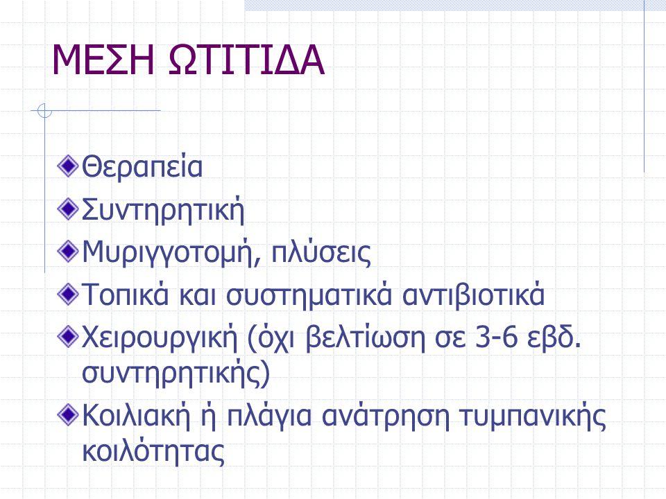 ΜΕΣΗ ΩΤΙΤΙΔΑ Θεραπεία Συντηρητική Μυριγγοτομή, πλύσεις Τοπικά και συστηματικά αντιβιοτικά Χειρουργική (όχι βελτίωση σε 3-6 εβδ. συντηρητικής) Κοιλιακή