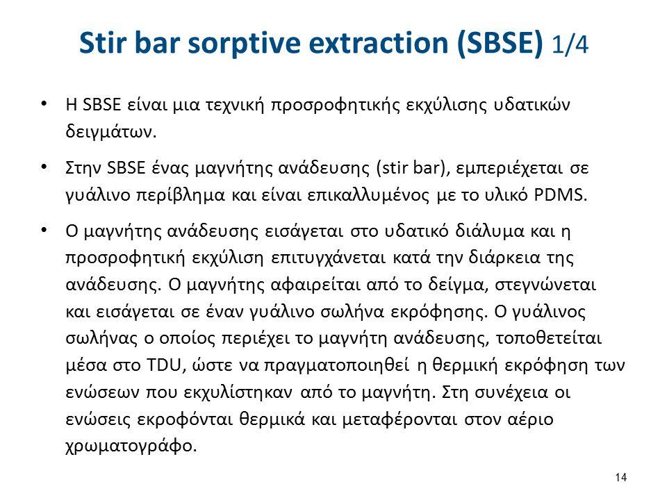 Η SBSE είναι μια τεχνική προσροφητικής εκχύλισης υδατικών δειγμάτων.