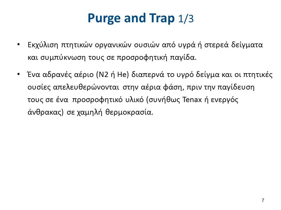 7 Purge and Trap 1/3 Εκχύλιση πτητικών οργανικών ουσιών από υγρά ή στερεά δείγματα και συμπύκνωση τους σε προσροφητική παγίδα.