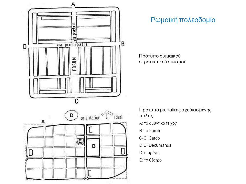 Ρωμαϊκή πολεοδομία Πρότυπο ρωμαϊκού στρατιωτικού οικισμού Πρότυπο ρωμαϊκής σχεδιασμένης πόλης Α: το αμυντικό τείχος Β: το Forum C-C: Cardo D-D: Decuma