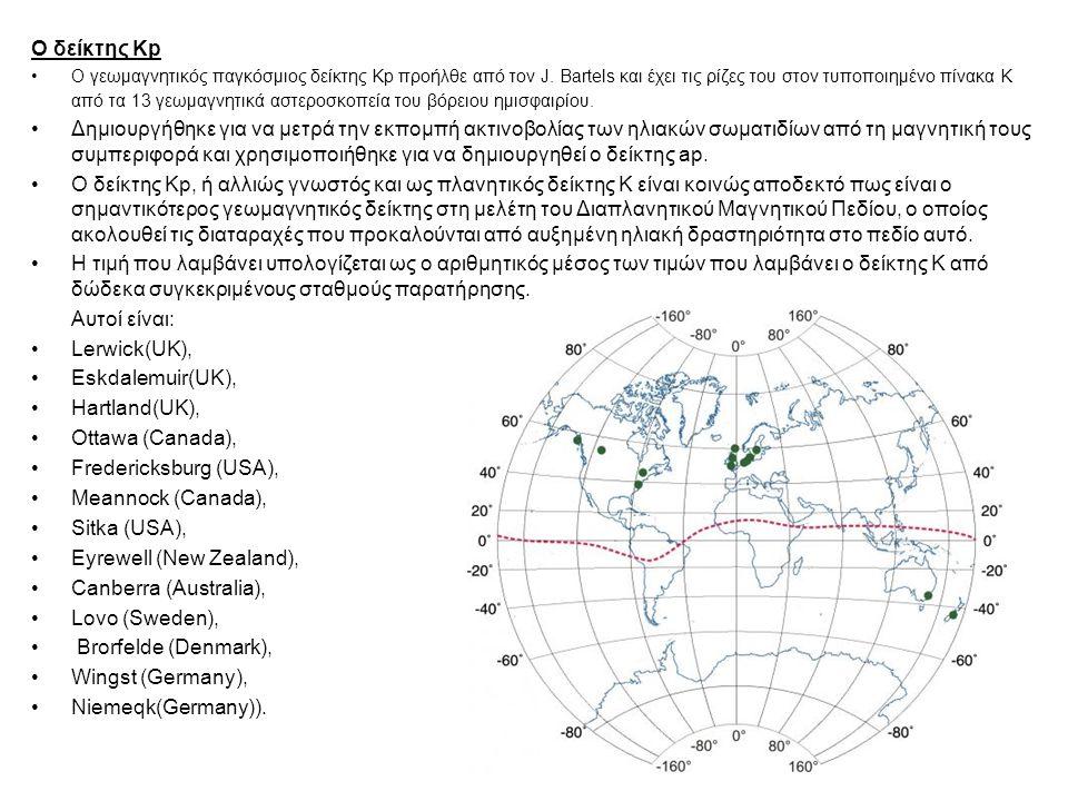Ο δείκτης Kp Ο γεωμαγνητικός παγκόσμιος δείκτης Kp προήλθε από τον J. Bartels και έχει τις ρίζες του στον τυποποιημένο πίνακα K από τα 13 γεωμαγνητικά
