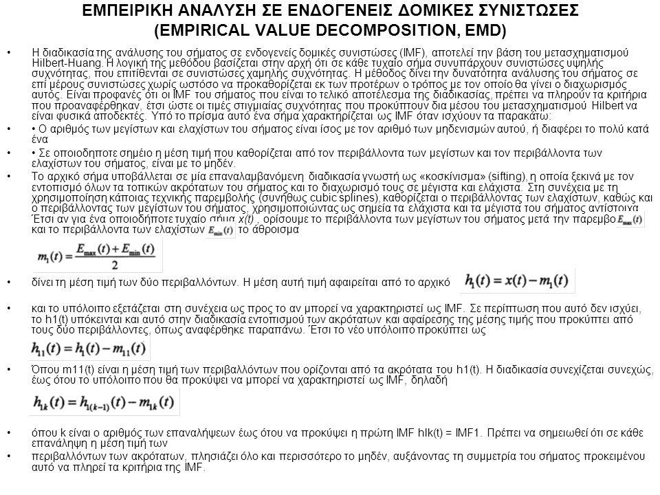 ΕΜΠΕΙΡΙΚΗ ΑΝΑΛΥΣΗ ΣΕ ΕΝΔΟΓΕΝΕΙΣ ΔΟΜΙΚΕΣ ΣΥΝΙΣΤΩΣΕΣ (EΜPIRICAL VALUE DECOMPOSITION, EMD) Η διαδικασία της ανάλυσης του σήματος σε ενδογενείς δομικές συ