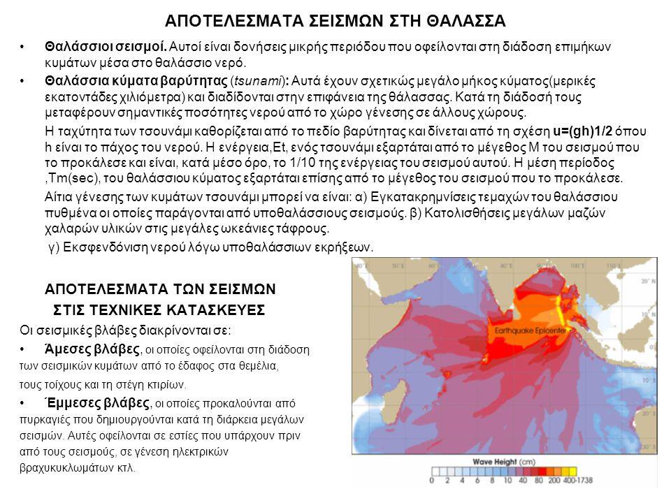 ΑΠΟΤΕΛΕΣΜΑΤΑ ΣΕΙΣΜΩΝ ΣΤΗ ΘΑΛΑΣΣΑ Θαλάσσιοι σεισμοί. Αυτοί είναι δονήσεις μικρής περιόδου που οφείλονται στη διάδοση επιμήκων κυμάτων μέσα στο θαλάσσιο