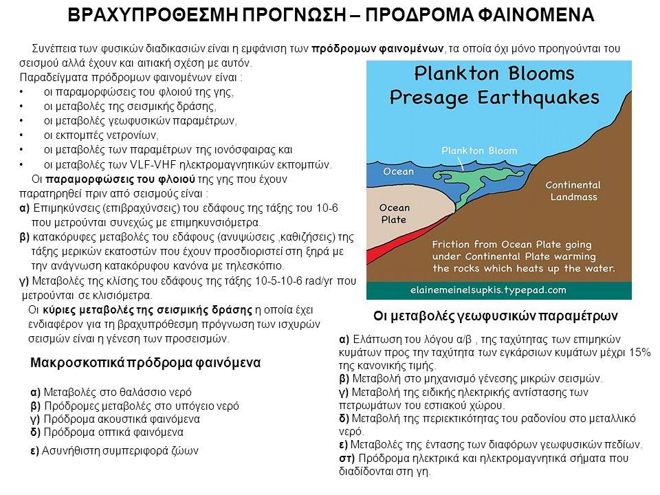 Συνέπεια των φυσικών διαδικασιών είναι η εμφάνιση των πρόδρομων φαινομένων, τα οποία όχι μόνο προηγούνται του σεισμού αλλά έχουν και αιτιακή σχέση με