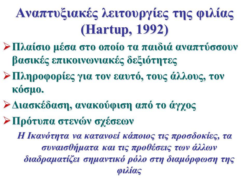 Αναπτυξιακές λειτουργίες της φιλίας (Hartup, 1992)  Πλαίσιο μέσα στο οποίο τα παιδιά αναπτύσσουν βασικές επικοινωνιακές δεξιότητες  Πληροφορίες για τον εαυτό, τους άλλους, τον κόσμο.