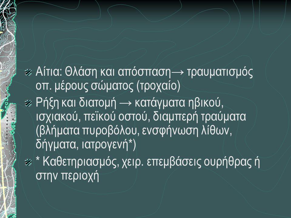 Αίτια: Θλάση και απόσπαση→ τραυματισμός οπ. μέρους σώματος (τροχαίο) Ρήξη και διατομή → κατάγματα ηβικού, ισχιακού, πεϊκού οστού, διαμπερή τραύματα (β