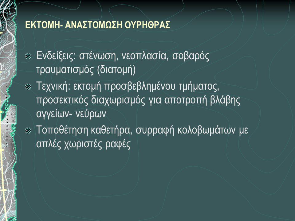 ΠΡΟΣΟΧΗ: ήπιοι χειρισμοί - ιατρογενής ρήξη Δ.Δ.: άλλα αίτια έμφραξης (νεοπλασία, τραύμα) Θεραπεία Προεγχειρητικά: αποκατάσταση οξεοβασικής ισορροπίας, έλεγχος ουρολοιμώξεων α) Συντηρητική: καθετήρας (tomcat) περιφερικά του λίθου, φυσ.