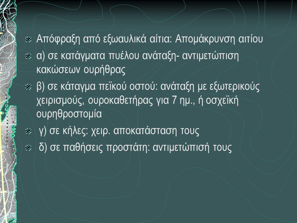 Απόφραξη από εξωαυλικά αίτια: Απομάκρυνση αιτίου α) σε κατάγματα πυέλου ανάταξη- αντιμετώπιση κακώσεων ουρήθρας β) σε κάταγμα πεϊκού οστού: ανάταξη με