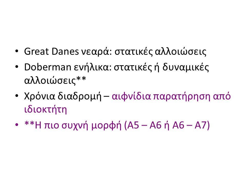 Great Danes νεαρά: στατικές αλλοιώσεις Doberman ενήλικα: στατικές ή δυναμικές αλλοιώσεις** Χρόνια διαδρομή – αιφνίδια παρατήρηση από ιδιοκτήτη **Η πιο