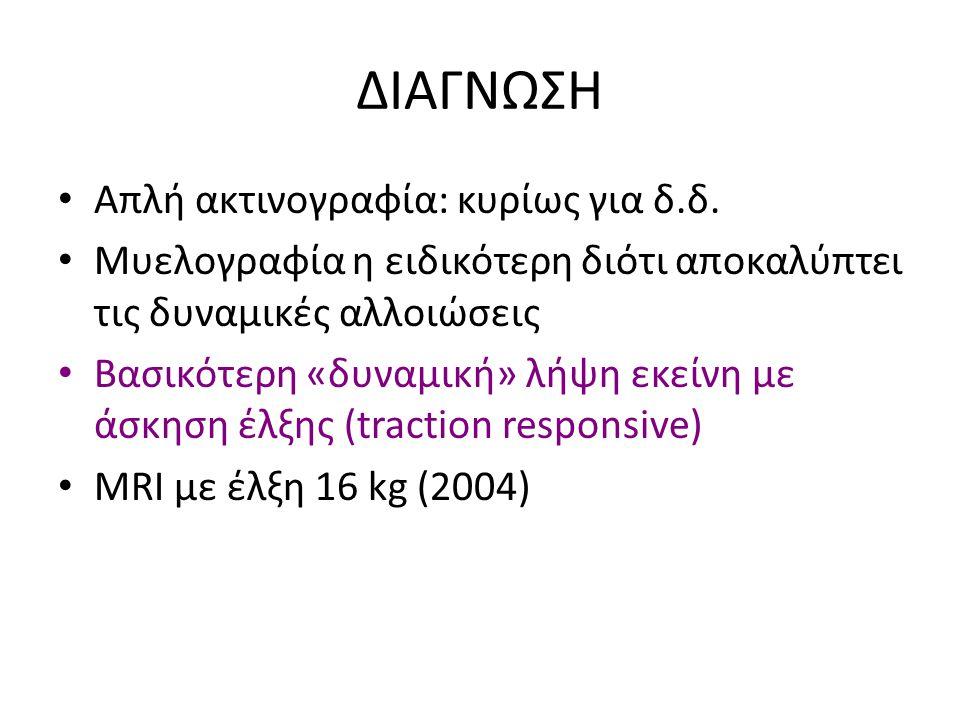 ΔΙΑΓΝΩΣΗ Απλή ακτινογραφία: κυρίως για δ.δ. Μυελογραφία η ειδικότερη διότι αποκαλύπτει τις δυναμικές αλλοιώσεις Βασικότερη «δυναμική» λήψη εκείνη με ά