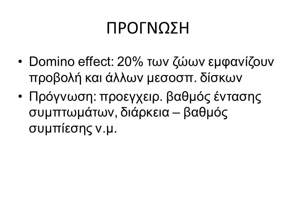 ΠΡΟΓΝΩΣΗ Domino effect: 20% των ζώων εμφανίζουν προβολή και άλλων μεσοσπ. δίσκων Πρόγνωση: προεγχειρ. βαθμός έντασης συμπτωμάτων, διάρκεια – βαθμός συ