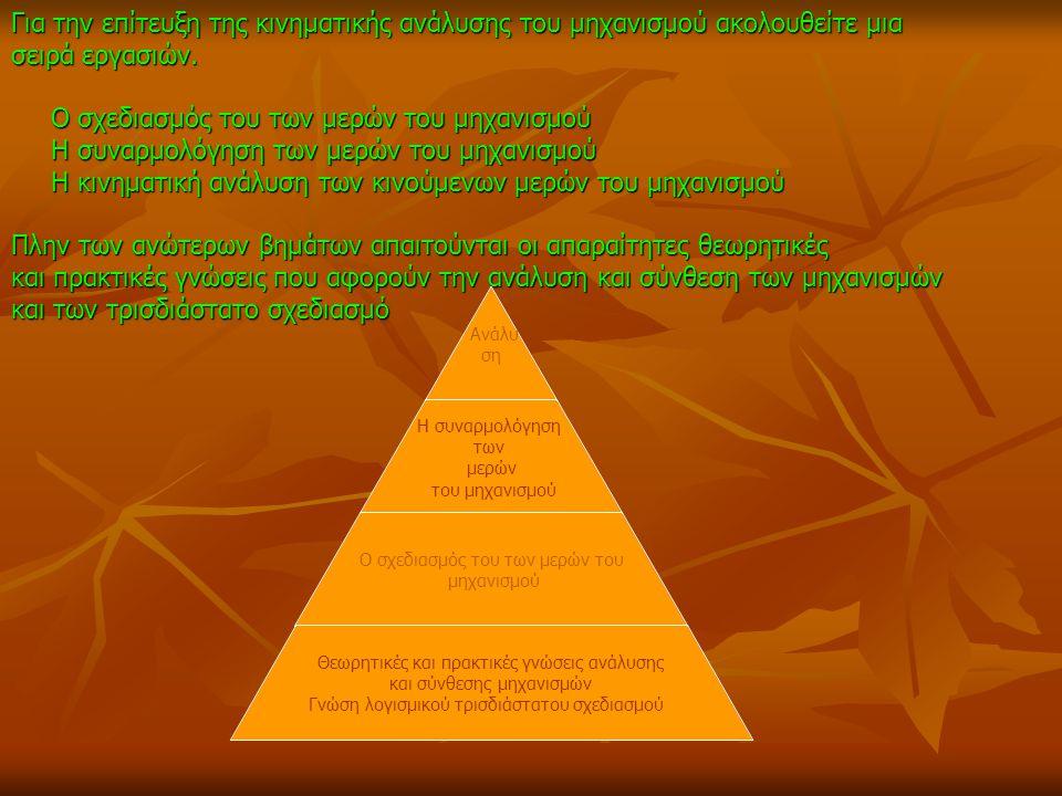 Για την επίτευξη της κινηματικής ανάλυσης του μηχανισμού ακολουθείτε μια σειρά εργασιών. Ο σχεδιασμός του των μερών του μηχανισμού Η συναρμολόγηση των