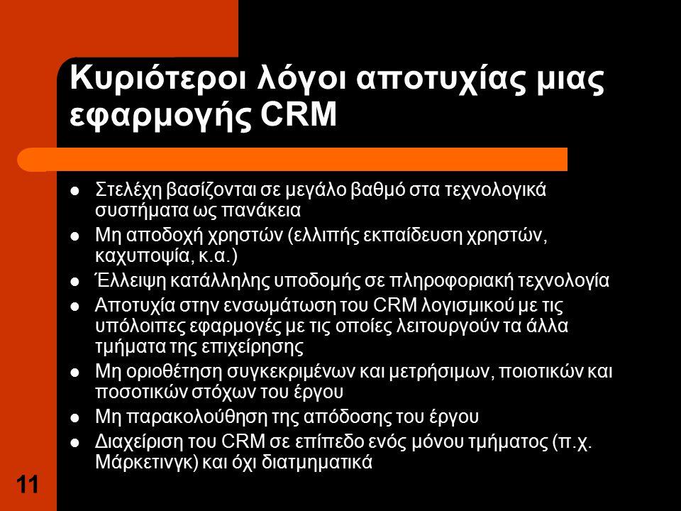 11 Κυριότεροι λόγοι αποτυχίας μιας εφαρμογής CRM Στελέχη βασίζονται σε μεγάλο βαθμό στα τεχνολογικά συστήματα ως πανάκεια Μη αποδοχή χρηστών (ελλιπής εκπαίδευση χρηστών, καχυποψία, κ.α.) Έλλειψη κατάλληλης υποδομής σε πληροφοριακή τεχνολογία Αποτυχία στην ενσωμάτωση του CRM λογισμικού με τις υπόλοιπες εφαρμογές με τις οποίες λειτουργούν τα άλλα τμήματα της επιχείρησης Μη οριοθέτηση συγκεκριμένων και μετρήσιμων, ποιοτικών και ποσοτικών στόχων του έργου Μη παρακολούθηση της απόδοσης του έργου Διαχείριση του CRM σε επίπεδο ενός μόνου τμήματος (π.χ.